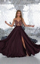 A-Line Floor-Length Bateau Short Sleeve Jersey Beading Appliques Illusion Dress