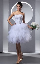 Strapless Knee-Length Short Dress With Beading and Ruffles