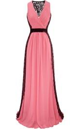 Sexy V-neck Sheath Long Chiffon Dress With Illusion Back
