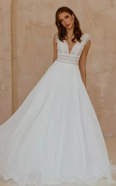Bohemian V-neck Chiffon Lace A Line Short Sleeve Floor-length Sweep Train Wedding Dress
