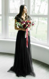 Sexy Black Tulle Wedding Dress With Lace And Cap Sleeve And V-neck