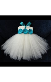 Empire Pleated Bodice Tulle Ball Gown With Waist Flower