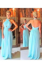 A-line Sleeveless Halter Chiffon Ruched Sweep Train Dresses