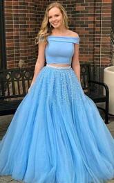 Satin Tulle Floor-length Brush Train Two Piece Sleeveless Modern Formal Dress