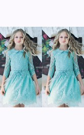 Flower Girl Illusion Lace Short Dress With Petter Pan Collar