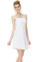 Strapless Floral Appliqueed Short Chiffon Dress
