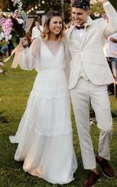 Tulle Floor-length Chapel Train A Line Long Sleeve Modest Ethereal Wedding Dress