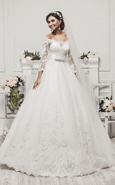 Delicate Tulle Lace Appliques 2018 Wedding Dress 3-4-Length Sleeve Beadings