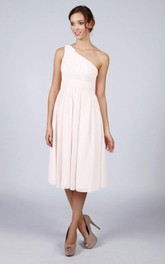 One Shoulder Pleated A-line Chiffon Short Dress White
