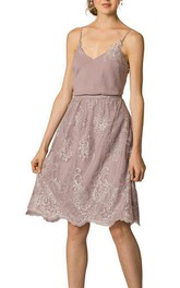 Spagetti Straps Laced Knee-length A-line Dress