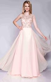 Cap Sleeve A-Line Chiffon Bateau Neck Prom Dress With Keyhole Back