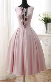 A-Line Flowers Tea-Length Open Back Prom Dress