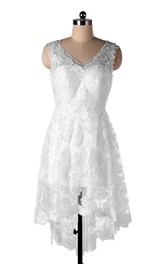 A-Line V-Neck Backless Chiffon Lace Weddig Dress