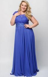 Empire Floor-Length Bateau Short Sleeve Empire Chiffon Lace Illusion Dress