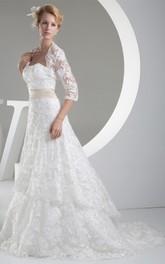 Sleeveless A-Line Lace Sweep Train and Dress With Bolero