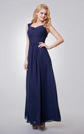 A-Line Long Chiffon Ruched Dress With Key-hole