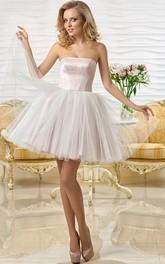 Strapless Mini Sleeveless Tulle Prom Dress