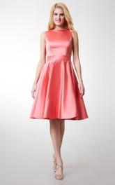 Elegant Bateau Neck Pleated Short Satin Dress With Lace Keyhole Back