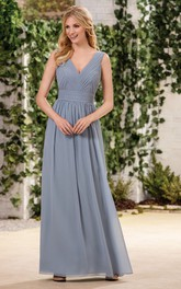 Sleeveless A-Line Chiffon Bridesmaid Dress With Pleats And Low V-Back