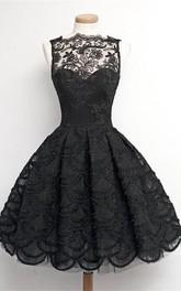 Sleeveless High Neck Short Lace Dress