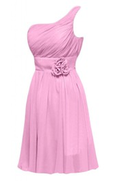 One-shoulder Pleated A-line Short Dress With Flowers