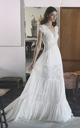 Boho V-neck A-line Chiffon Empire Wedding Gown With Petal Sleeve And Lace Tires