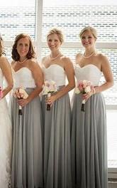 A-line Floor-length Sweetheart Sleeveless Pleats Chiffon Dress