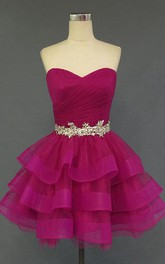 Sweetheart Ruched Tiered Short Organza Dress With Beading