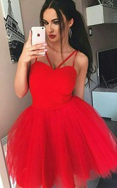 A-line Sleeveless Chiffon Tulle Spaghetti Straps Short Mini Homecoming Dress