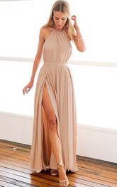Chiffon Ankle-length A Line Sleeveless Simple Evening Dress with Split Front