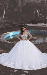 Newest Crystals Tulle Lace Illusion Wedding Dress 2018 Long Sleeve Ball Gown