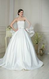 A-Line Long Strapless Sleeveless Lace-Up Satin Dress With Bow And Appliques