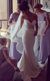 Elegant Mermaid Sheer Lace Sexy Beaded Country Bridal Gowns