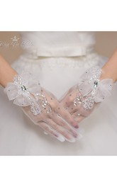 The New Crystal Gauze White Bow Short Gloves