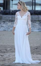 Sexy Sheath Chiffon Appliqued Long Wedding Dress with Keyhole Back