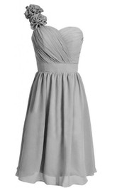 One-shoulder Sweetheart Chiffon Dress With Floral Strap