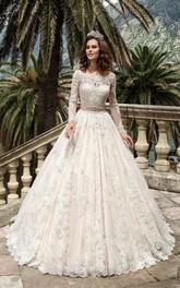 Bateau Neck Long Sleeve A-line Lace Wedding Dress With Beaded Sash
