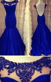 Mermaid Scoop Sleeveless Beading Floor-length Taffeta Dresses