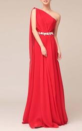 Floor-length One-shoulder Beaded Sheath Chiffon Bridesmaid Dress With Watteau Train
