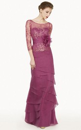 Sheath 3-4-Sleeve Floor-Length Floral Scoop-Neck Chiffon Prom Dress With Embroidery