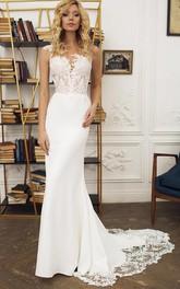 Satin Lace Floor-length Court Train Mermaid Sleeveless Bohemian Wedding Dress