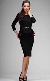 Scoop Neck 3-4 Sleeve Sheath Knee Length Jersey Dress With Beading Belt