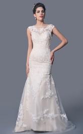High Neck Floral Lace Wedding Dress