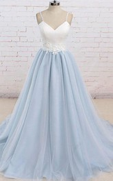 Satin Tulle Floor-length Brush Train A Line Sleeveless Casual Prom Dress with Appliques