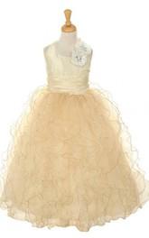 Sleeveless A-line Pleated Dress With Cascade Ruffles