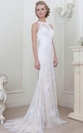Sheath Sleeveless Appliqued Jewel-Neck Floor-Length Lace Evening Dress With Pleats