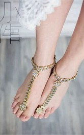 Western Style Fresh Beach Wedding Bridal Jewelry With Diamonds Even Finger Anklet