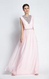 A-Line Floor-length Jewel Chiffon Sleeveless Prom Dress with Beading and Ruching