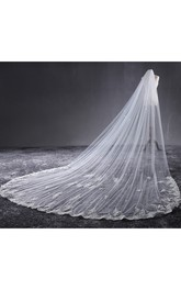 Korean New Style Cathedral Wedding Veil with Lace Edge and Flower Applique