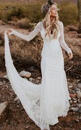 Satin Floor-length Chapel Train Bodycon Long Sleeve Vintage Wedding Dress